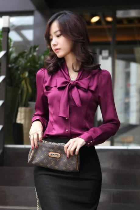 SALE! Purple Magenta Blouse for Women Free Shipping Bowtie Office Work US Size Medium