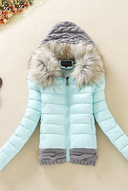 Free Shipping Mintgreen Knitted Splice Stylish Jackets for Women Removable Fur Hood Long Sleeve Women's Down Coat