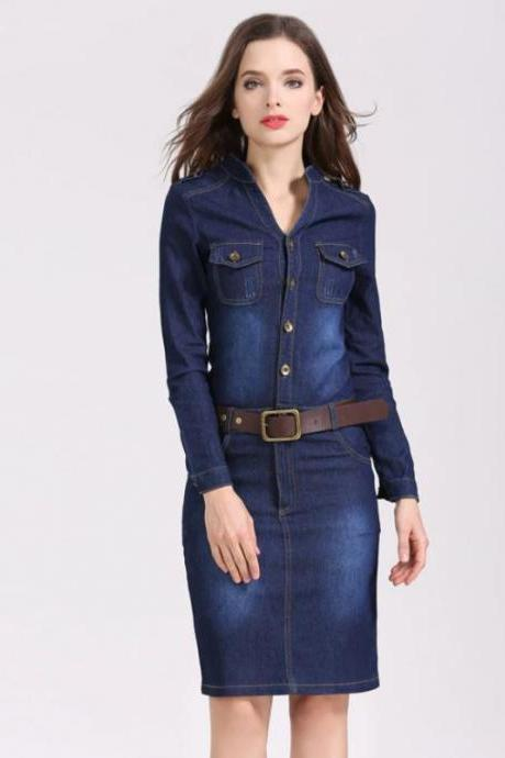 Buckled Shoulders Denim Dress for Women Low mandarin Collar Free Shipping Chick Denim Dress