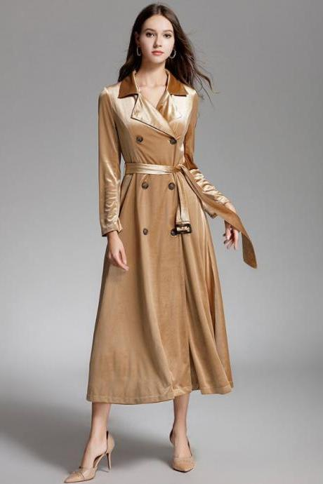 Elegant Slim Fit Velvet Luxury Golden Trench Coats for Women Soft and Rich Velvet Overcoats