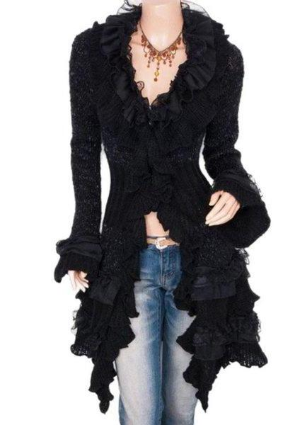 Vintage Cardigan for Women is Ready to Ship Ruffled Chic Black Cardigans