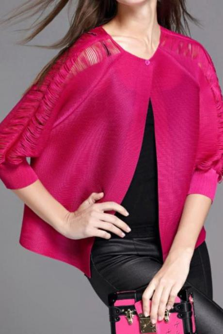 Crop Cardigan for Plus Size Fashion Tops for Women New Trend Hotpink Hollow Button Shirts for Women