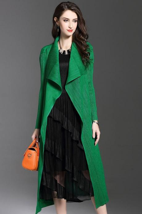 New Outerwear Green Long Cardigan for Women Super Fold Big Lapel Fashion Style for Women