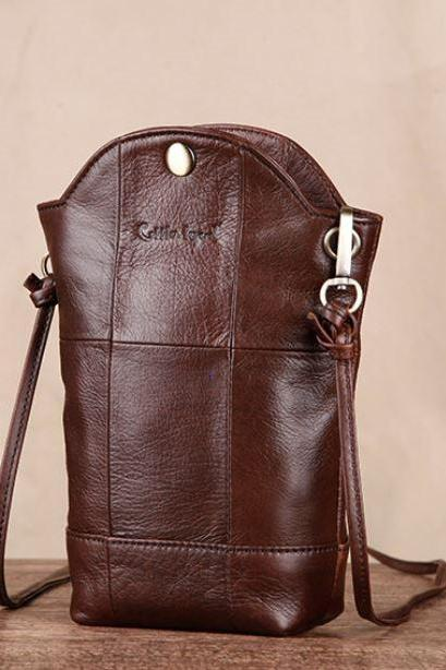 New Era Genuine Leather Phone Bags Real Brown Leather Phone Shoulder Bags for Travelers Credit Cards