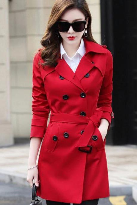 New Clothes Same as Picture Red Winter Coats for Women Ready to Ship XL Red Trench Coats with Shoulder Buckles