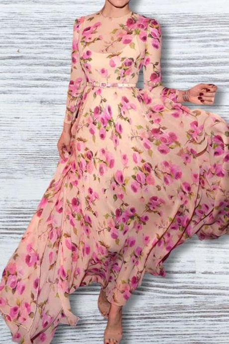Women's Pink Dress Free Shipping Chiffon Lace Dress with Long Side Slits Printed Floral Maxi Dress for Women Medium Size