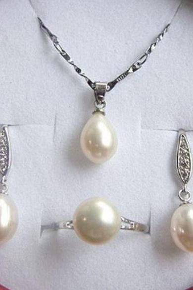 New Bridal Pearl Jewelry Sets for Women Wedding Resizable Ring Natural Freshwater Pearl Jewels