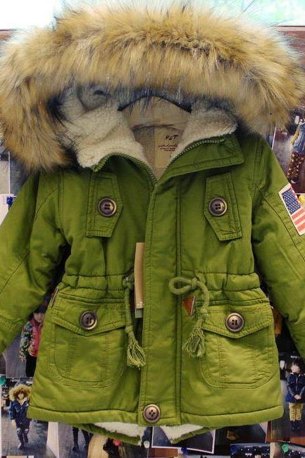 New Clothing for Children Winter Parkas Green Jackets for Toddler Boys and Girls with Faux Fur Hoodies Unisex