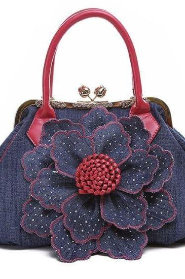 Red Clutch Bags Red Totes for Women Free Shipping New Denim Blue Bags Floral Blue Handbags with Golden Hasp