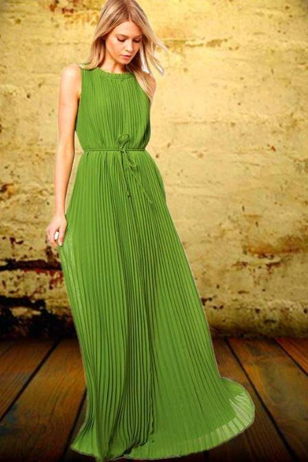 Green Maxi Dresses for Women European Cut Sleeveless Tank Dress Pleated Style Dress for Women