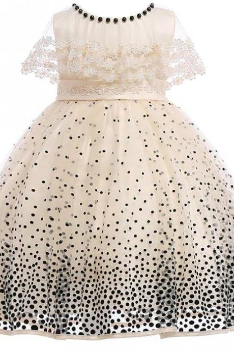 RSS Boutique Polka Dots Girls Dress with Sheer Capelet Cream Dresses Recital Outfit Cream Dresses