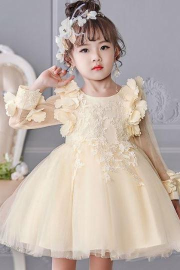 New Arrival Floral Sleeves Peach Dress for Girls Elegant RSS Boutique Formal Wear for Girls Cream Dress for Girls Tutu Dress