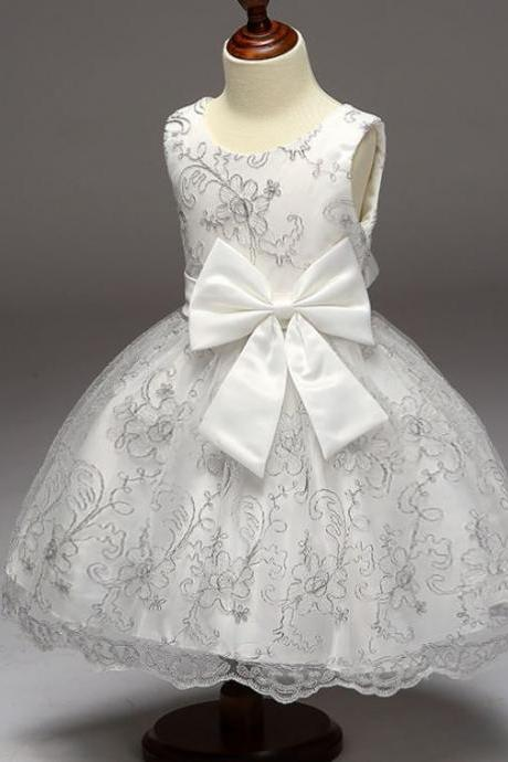 Free Shipping White Dress with Silver Trim Patchwork Silver Stitching with Tiara Headband Luxury Princess Dresses