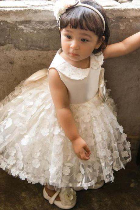 FREE White Headband for Ballgown Tutu Dress for Infant Girls Baptism Dress Christening Dresses with Peter Pan Collar Floral Patchworks