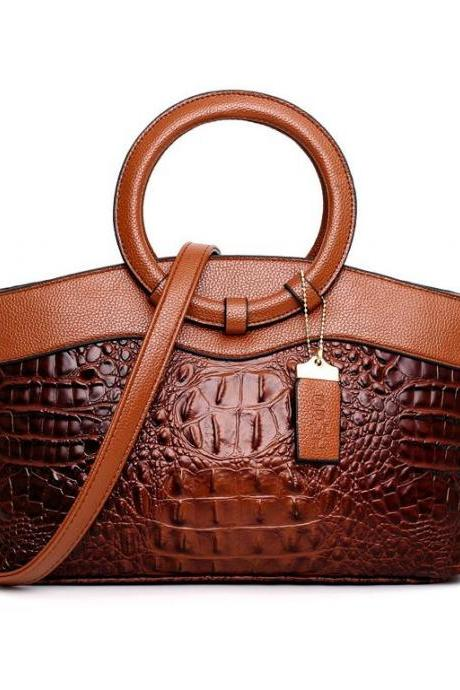 Immense Brown Leather Bags for Women Embossed Animal Skin Brown Leather Purse Brown Leather Shoulder Bags