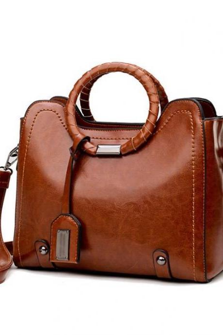 New Arrival Brown Leather Bags for Women Hollow Out Floral Solid Brown Bags