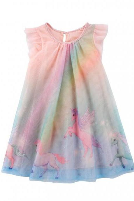 New Magical Horses Girls Colorful Dress with Free Baby Matching Headband Pink Spring Dresses
