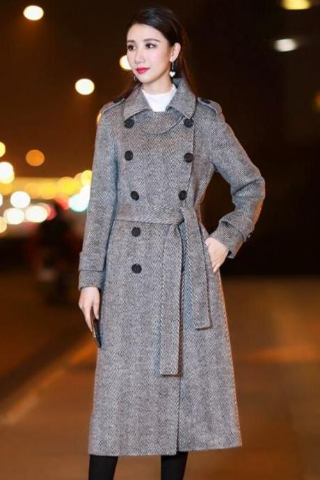 Unique Herringbone Pattern Trench Coats for Women with Small Nickerchief Long Gray Overcoats for Women