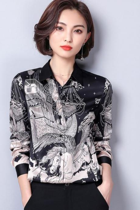 Black Blouses for Women V-Neck Blouses with Printed Magical Horses Pulling Pirate Ships Stars