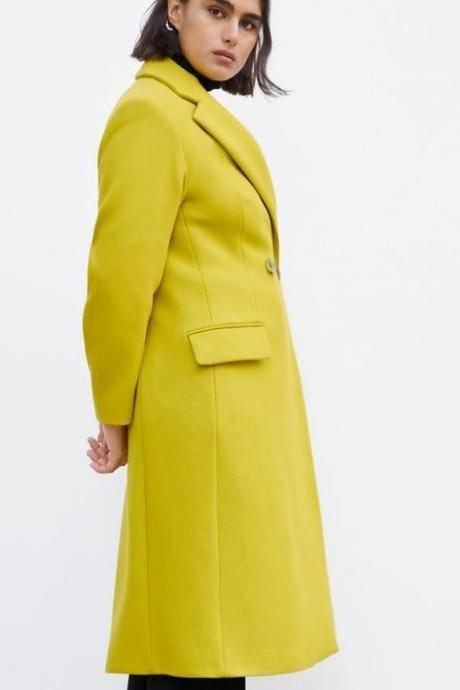New Arrival Yellow Blazers for Women Long Trench Coats with Flap Pockets Yellow Woolen Overcoats