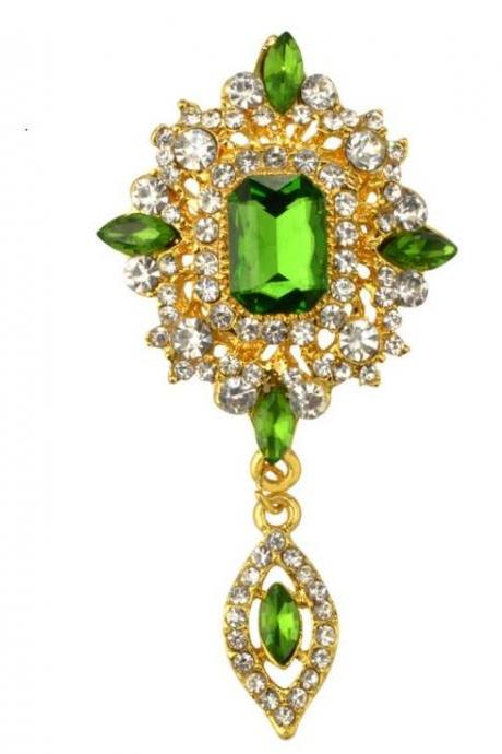 Unisex Green Pins and Brooch Royalty Brooch and Pins for Men and Women Pretty Green Crystals Tear Drop