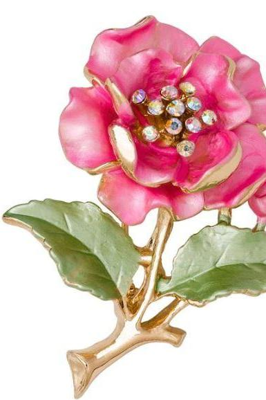 Pink Brooch Floral Brooch Breast Cancer Awareness Gift for Women Free Shipping Brooch