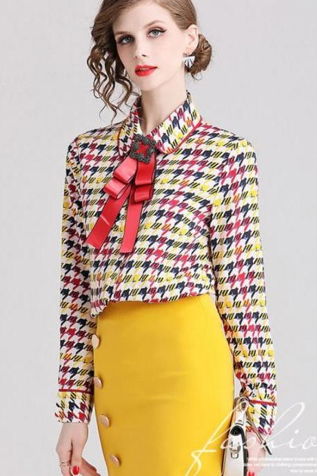 New 2020 Geometric Blouses for Luxury Women's Tees Houndstooth Pattern Silk Tops for Women with Bow Tie-Yellow Blouses for Women