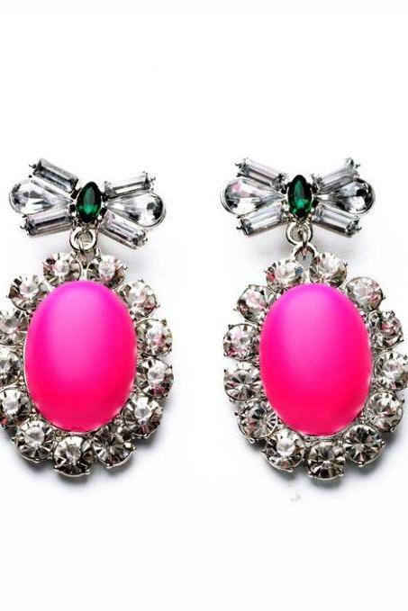 Gorgeous Pink Earrings with Green Crystal Bow Fashion Beautiful Earrings for Women Big Stone Drop Earrings