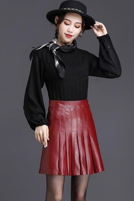 Women's Burgundy Above Knees Skirts Pleated Red Leather Skirts for Tween Girls Teenager Girls