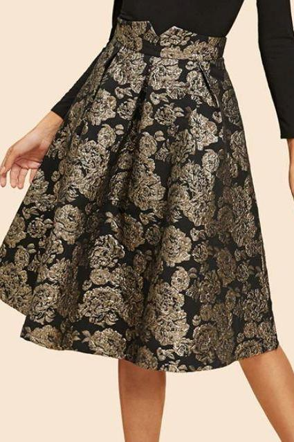 RSS Boutique Knee Length Black Skirts Pleated Floral Golden Womens Skirts Golden Skirts for Women