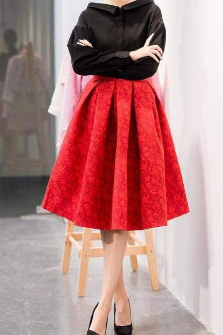 RSS Boutique Red Skirts Jacquard Big Pleated Knee Length Fashion Skirts with FREE Jewelry Set