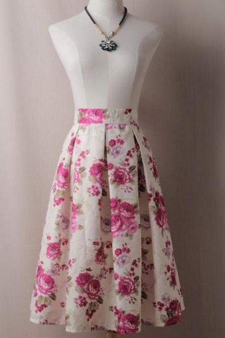 RSS Boutique Junior Girls Beautiful Skirts with FREE Necklace Pleated Skirts Printed Pink Roses Spring Skirts