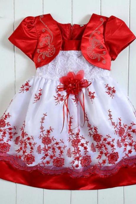 Embroidery Pretty Baby Girls Red Dresses with Free Bow Lacy Headband Red Tutu Dresses