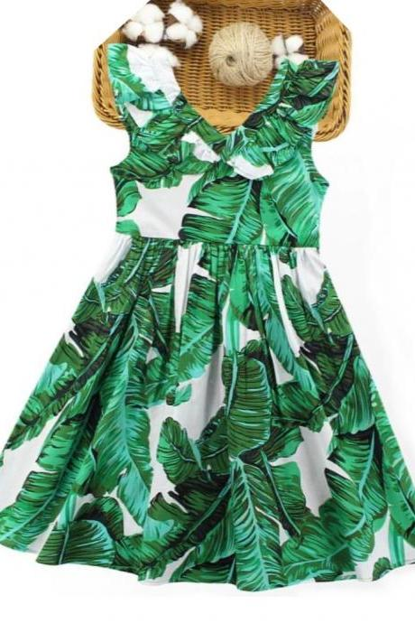 Ages 3-12 Years Old Summer Green Dress for Tween Girls Ruffled Sleeves Spring Banana Leaves Prints Dresses for Toddler Girls