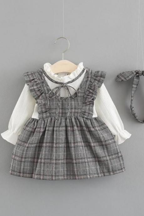 Gray Checkered Dress for Baby Girls with Matching Headband 3-6months-24 Months
