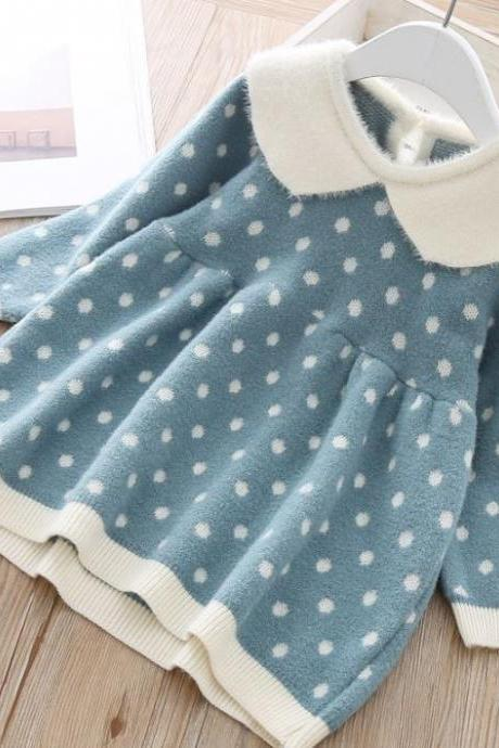 Warm Cashmere Baby Sweater Dress with Polka Dot Pattern 9Mos-4t Thicker and Softer