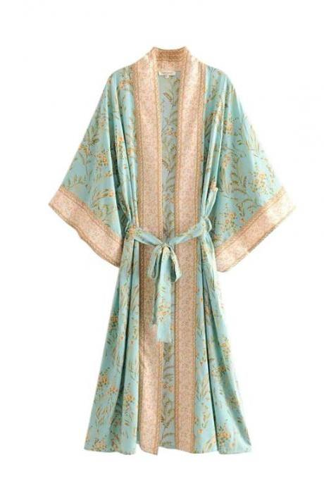 Mintgreen Kimono House Robes Comfy Plus Size Women Green Floral Prints Japanese Chic Kimono for Women