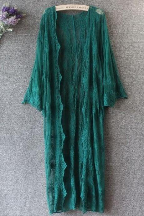 Lacy Dark Green Kimono Loose Clothes for Women Green Floral Embroidery Sheer Kimono for Women