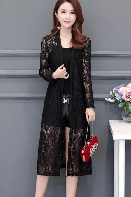Lovely Black Dress for Women Body Wraps Lacy Kimono Black Floral Sheer Kimono for Women