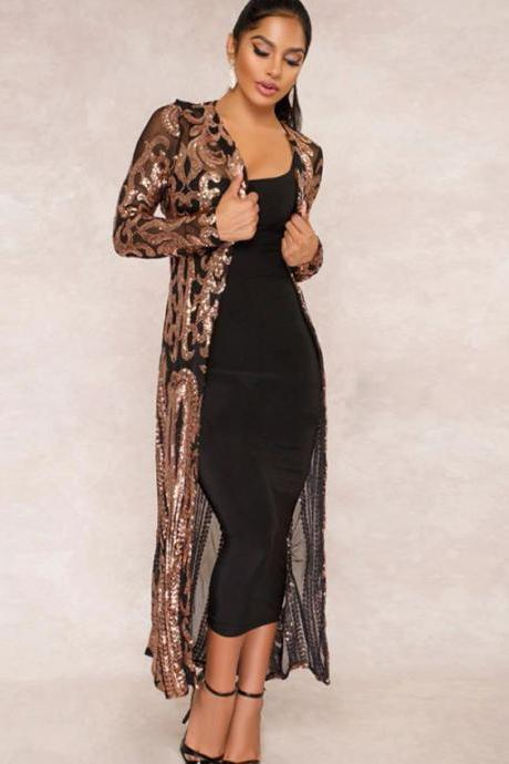 Sequin Robes and Cardigan for Women-Long Body Cover for Women Sheer Sequins