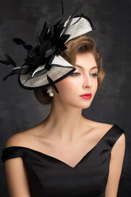Black Hat Fashion Headwear for Women In Stock Fancy Tall Fascinator for Elegant Lady