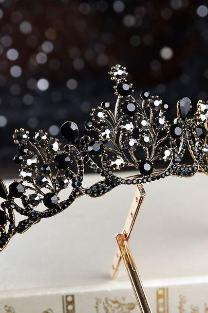 New European Crowns Black Tiaras for Women Hollow Crystals and Rhinestones