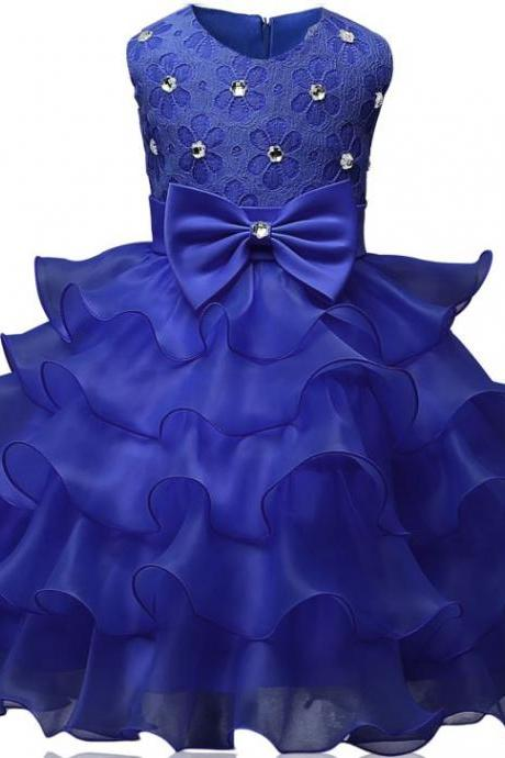 2019 Royal Blue Girls Dresses Fashion Tiered Ruffled Royal Blue Dress for Toddler Girls Ballgown