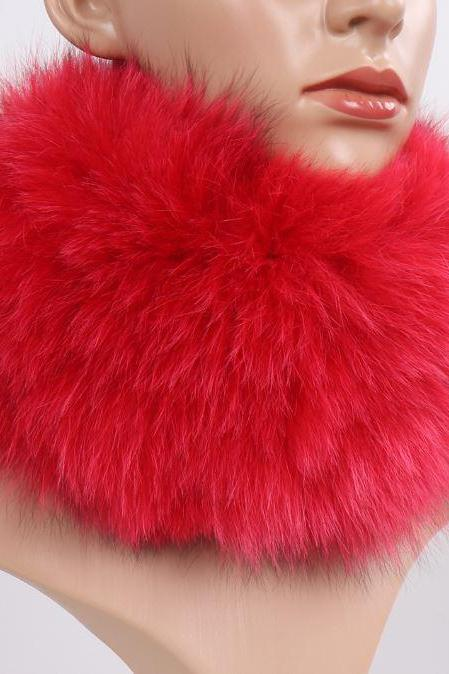 Tall Red Winter Scarves for Women Red Neckwarmer for Women Faux Fur Elastic Headband