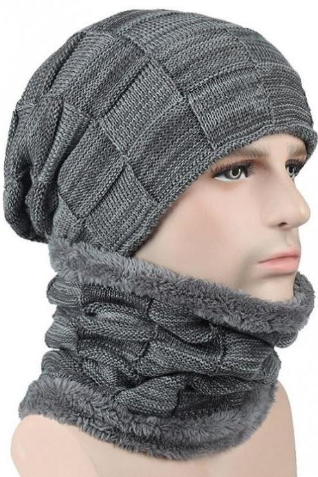Gray Handsome Beanies for Men Free Touch Screen Gloves Warm Fleece Lining with Matching Neck Warmer Matching Sets