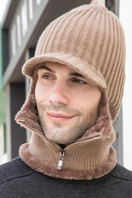 FREE TOUCH SCREEN GLOVES for Light Brown Handsome Hats for Men with Warm Fleece Lining with Matching Neck Warmer Zipper