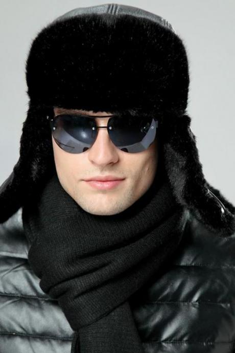 4pcs/SET Black Russian Ushanka Winter Plush Black Scarf Black Eye Glasses Earflap Aviator Hat Faux Leather Snow Ski Cap FREE TOUCH SCREEN GLOVES