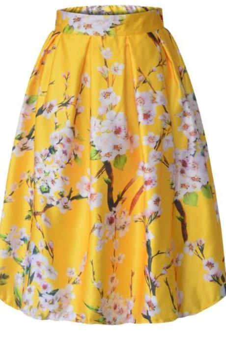 Yellow Pleated Skirts for Women Floral Prints