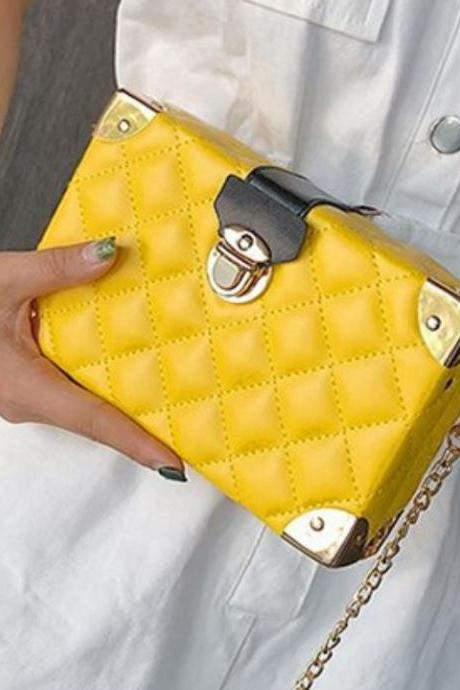 Yellow Box Shoulder Bag Quilted Leather Women's High Quality Yellow Purses