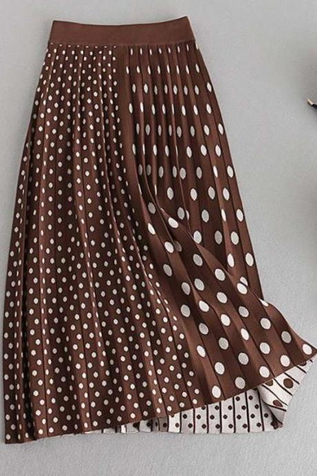 Fall Winter Skirts for Women Brown Polka Dot Skirts Pleated Fashion Skirts-Cotton Knitted
